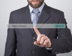 http www. written in search bar on virtual screen. technology, internet and - stock photo
