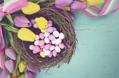 Easter aqua blue wood background. - stock photo