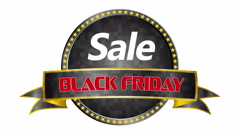 Black Friday sale black tag, round sale banner, advertising symbol sale. Stock Footage