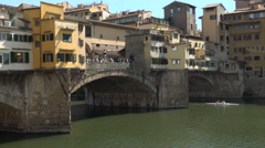 Scenic and romantic Ponte Vecchio, Florence, Italy Stock Footage