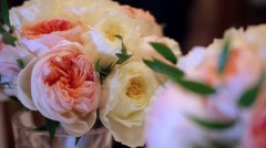 Wedding bunch of flowers from pink rose flowers, dynamic change of focus Stock Footage