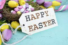 Easter aqua blue wood background. Stock Photos