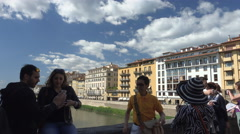 Pan Scenic and romantic Ponte Vecchio, Florence, Italy Stock Footage
