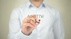 Adaptive Design, Man writing on transparent screen - stock footage