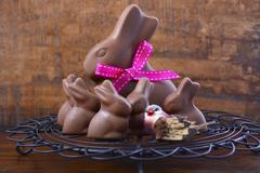 Chocolate bunny easter eggs. - stock photo