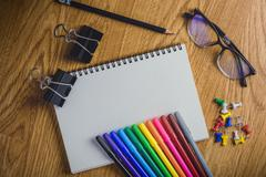 School stationary and office supplies - stock photo