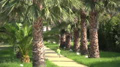 Joyful child running happy on palm tree alley Stock Footage