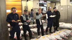 Tuna for auction at Tsukiji fish market - Tokyo, Japan. Stock Footage
