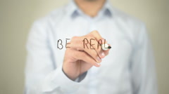 Be Real, Man writing on transparent screen Stock Footage