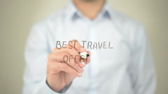 Best Travel Offers, Man writing on transparent screen Stock Footage