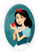 Snow White Holding Apple Vector Illustration - stock illustration