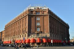 Astoria hotel and pedestrians on a Sunny day St. Petersburg - stock photo
