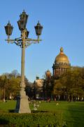 View of St. Isaac's Cathedral, Senate square and tourists  St. Petersburg - stock photo