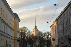 View of the spire of the Admiralty, in  Voznesensky prospect - stock photo