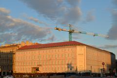 Repair and construction of buildings on Quay of the river Moika St. Petersburg Stock Photos