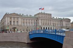 Blue bridge and the building  Legislative Assembly St. Petersburg Stock Photos