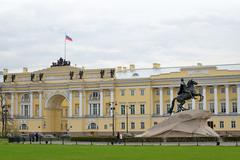 Monument to Peter 1 the bronze horseman and Supreme court St. Petersburg - stock photo