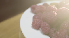 Farm fresh raspberries ready to eat Stock Footage