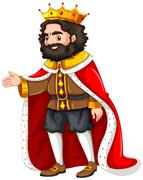 King with red robe Stock Illustration