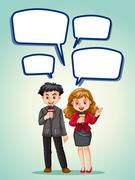 News reporter with speech bubbles Stock Illustration