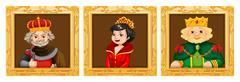 Kings and queens in photo frames Stock Illustration