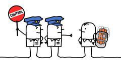 Cartoon characters - police control - bomb Stock Illustration