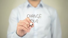 Change Your Choice, Man writing on transparent screen Stock Footage