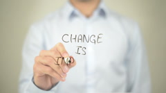 Change is Important, Man writing on transparent screen Stock Footage
