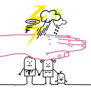Big hand and cartoon characters - disaster Stock Illustration