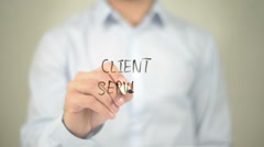 Client Service, Man writing on transparent screen Stock Footage