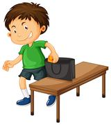 Boy stealing things from purse Stock Illustration