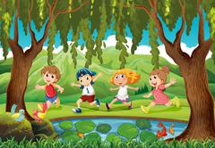 Four kids running in the park Stock Illustration