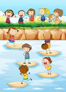 Children playing on the cliff Stock Illustration