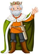 King with green robe Stock Illustration