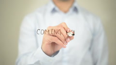 Coming Home, Man writing on transparent screen Stock Footage