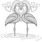 Coloring page with Flamingo in love, zentangle hand drawing illu Stock Illustration