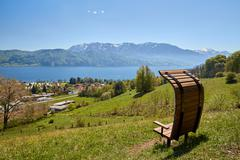 Nussdorf at lake Attersee Pfarrer Salettl Stock Photos