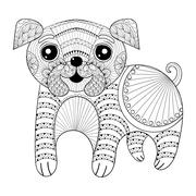 Zentangle Hand drawing Dog for antistress coloring pages, post c Stock Illustration