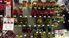Pan shot of display tools at Home Depot store Stock Footage