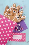 Easter bunny gingerbread cookies - stock photo