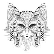 Zentangle Hand drawn Cat face for adult antistress coloring page - stock illustration