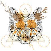 Hand drawn vector Cat head for adult coloring page in zentangle Stock Illustration