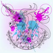 Hand drawn vector magic unicorn for adult coloring page in zenta - stock illustration