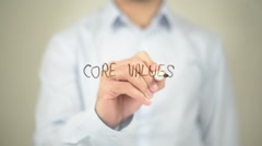 Core Values, Man writing on transparent screen - stock footage