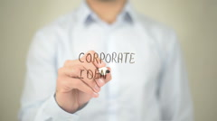 Corporate Identity, Man writing on transparent screen - stock footage