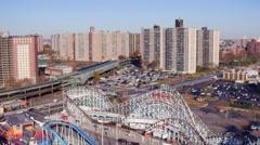 Aerial NYC Coney Island Fun Park Stock Footage