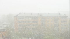 Snowstorm in the town Stock Footage