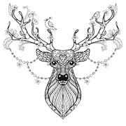 Zentangle Hand drawn magic horned Deer for adult antistress colo - stock illustration