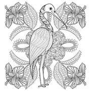 Zentangle Hand drawn Stork in Hibiskus for adult antistress colo - stock illustration