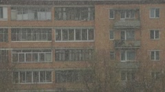 View of a block under the snowfall Stock Footage